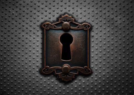 Vintage slot op een stalen klinkdeur