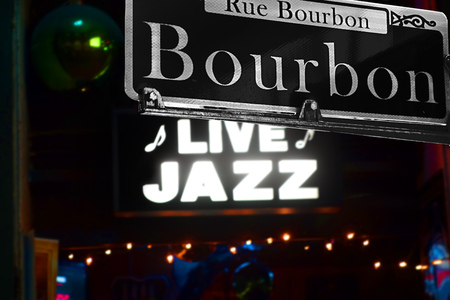 Bourbon Street sign in New Orleans French Quarter 스톡 콘텐츠