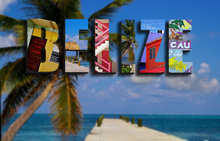 caribbean beach: Assorted images from around Ambergris Caye, Belize in text collage, with palm tree and dock background