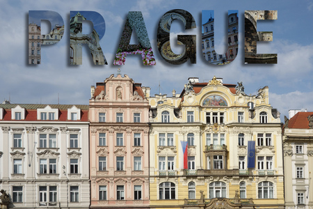 Assorted images from around Prague in text collage, over old town square background Stok Fotoğraf