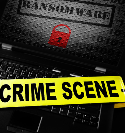 Ransomware lock on laptop with crime scene tape Stock fotó