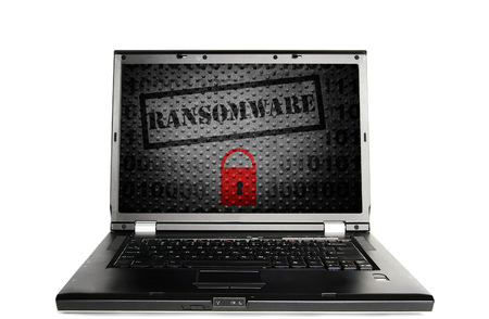 Laptop with a Ransomware lock -- cyber crime concept