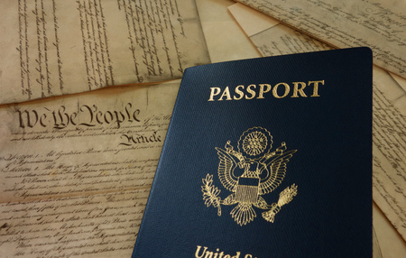 US passport on a copy of the Constitution Stock fotó