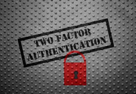 Twee Factor Authentication tekst met rood slot