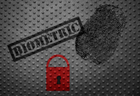 authenticate: Biometric stamp with fingerprint and lock -- data security concept