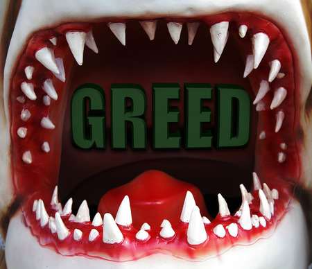 open shark mouth with greed text