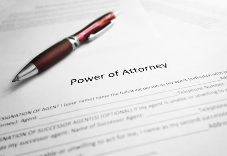 Power of Attorney legal document and pen Foto de archivo