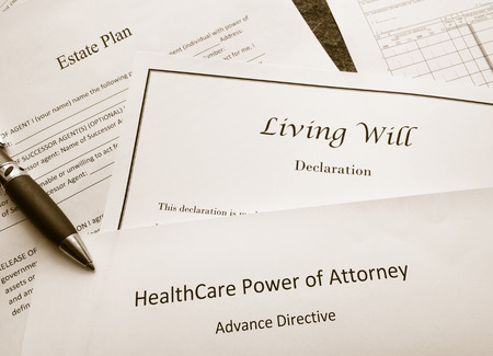 Estate Plan, Living Will, and Healthcare Power of Attorney documents Foto de archivo
