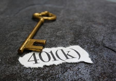 金の鍵で 401 K 紙くず 写真素材