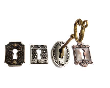 모듬 된 빈티지 자물쇠, 화이트 절연 골드 키 스톡 콘텐츠