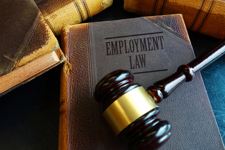 Employment Law book with legal gavel