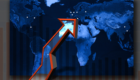 Up arrow on a world map and stock chart 写真素材