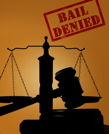 Court gavel and justice scales with Bail Denied text Stock Photo