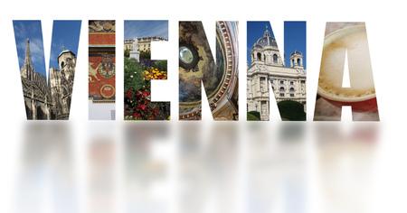 Banner van geassorteerde afbeeldingen van Wenen Oostenrijk op witte achtergrond