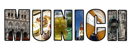 Munich banner on white, made up of images from around the city