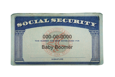 US Social Security card with Baby Boomer text, isolated on white Foto de archivo