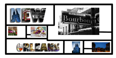 New Orleans collage with assorted images from around the city