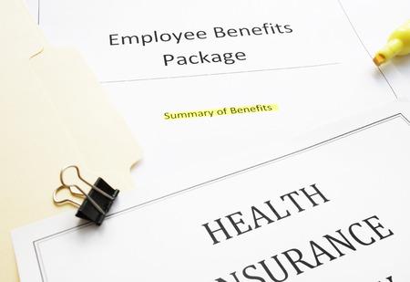 Employee Benefits package (summary of benefits) and health insurance document Zdjęcie Seryjne