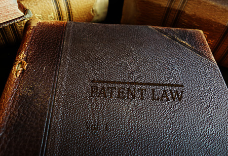 Patent Law books on a desk