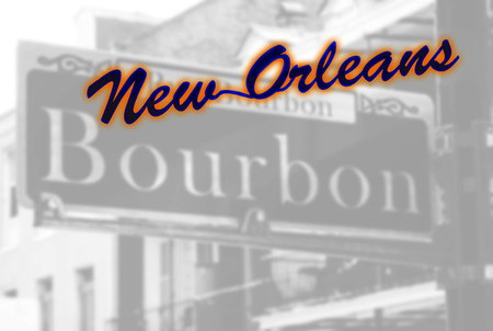 New Orleans neon style sign over Bourbon Street sign