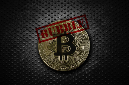 Gold bitcoin with Bubble text, on grunge background