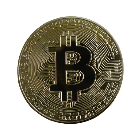 Gold bitcoin crypto currency, isolated on white Stock Photo