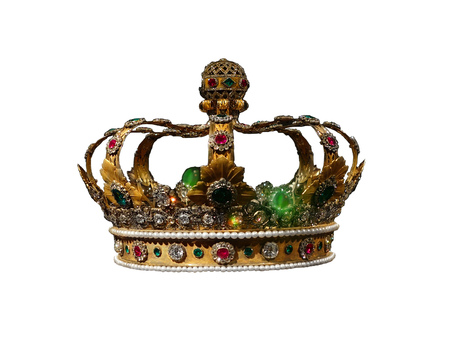 Gold and jewel King or queens crown, isolated on white