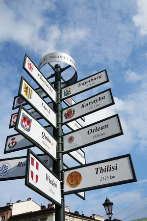 Sign pole in Krakow, Poland showing distance to various cities around the world 版權商用圖片