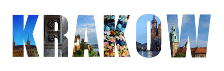 Collage of Krakow on white, made of images from around the Polish city