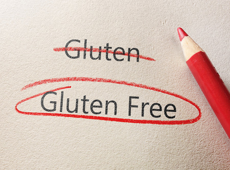 Gluten Free text circled in red pencil Imagens