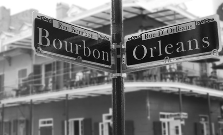 Bourbon Street sign at the corner of Orleans, in the French Quarter Stock Photo