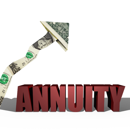 3D illustration of Annuity text over white with dollar up arrow Stock Photo