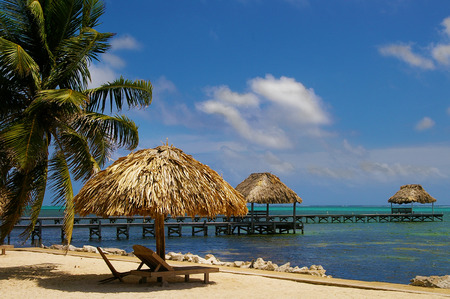 View of beach resort in Ambergris Caye Belize