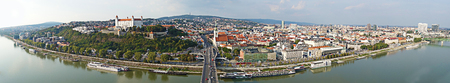Panoramic view of Bratislava Slovakia with the Danube River in the foreground