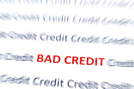 Bad Credit text in red, with credit text blurred