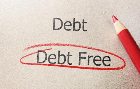 Debt Free text circled below Debt in red pencil