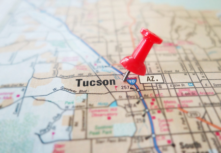 Closeup of Tucson Arizona map with red pin