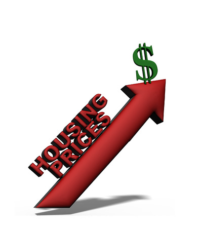 3D illustration of housing prices arrow and dollar sign