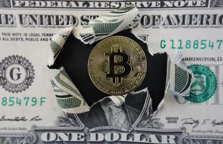 Gold bitcoin within a torn dollar bill Zdjęcie Seryjne