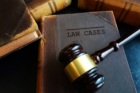 Law Cases law books and legal gavel Stock Photo - 104420423