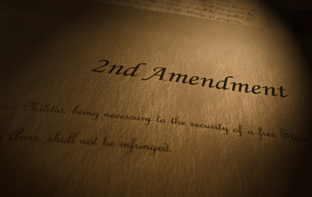 Second Amendment to the US Constitution text on parchment paper 版權商用圖片