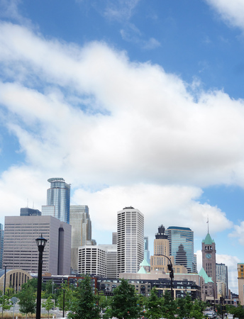 View of the skyline in downtown Minneapolis Stock Photo
