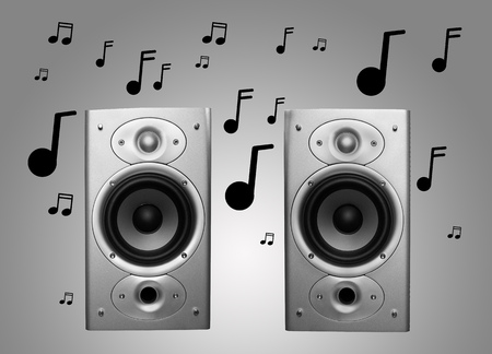pair of stereo speakers with musical notes Stockfoto