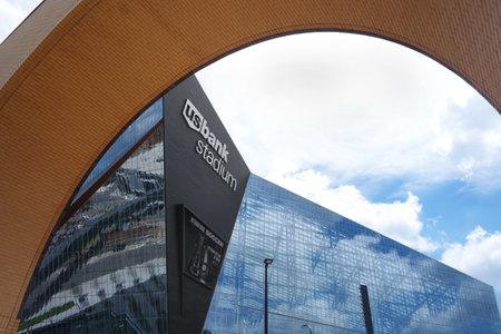 MINNEAPOLIS,MNUSA - 7-09-2018: View of US Bank Stadium, the home of the NFL Minnesota Vikings Editorial