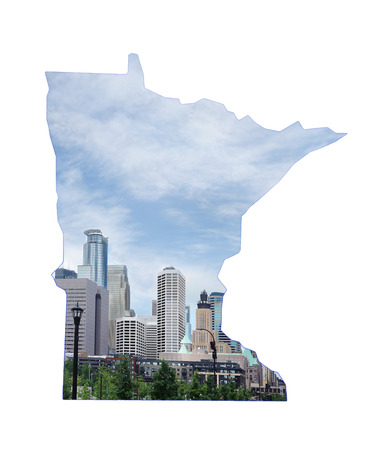 View of downtown Minneapolis skyline in the shape of Minnesota