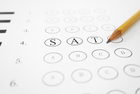 Closeup of multiple choice exam with SAT text and pencil Banco de Imagens
