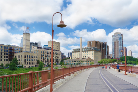 View of downtown Minneapolis from the stone arch bridge