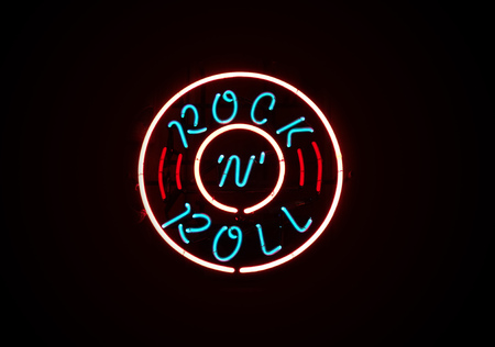 Rock n Roll neon sign on dark background