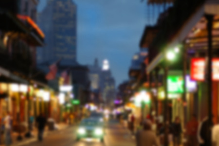 Blurred background of Bourbon Street in New Orleans French quarter Stock Photo - 112044420