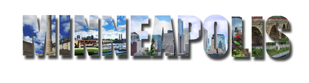 Banner collage of Minneapolis images, with shadow, isolated on white 写真素材